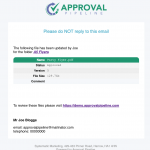 Email Notification of approved file.